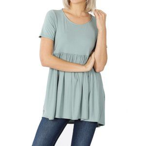 Light Green Babydoll Short Sleeve Top
